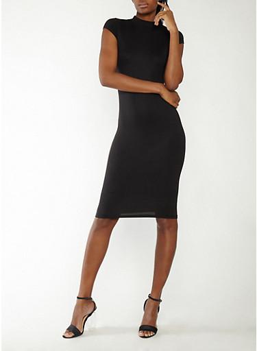 Mock Neck Mid Length Dress,BLACK,large