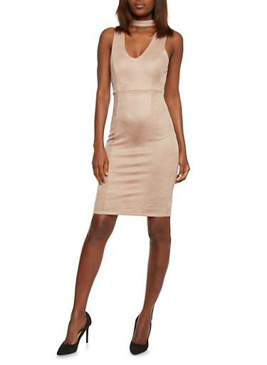 Sleeveless Bodycon Dress with Choker V Neck,MOCHA,large