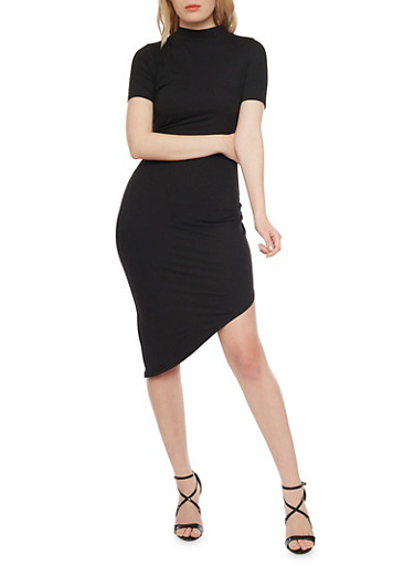 Asymmetrical Bodycon Dress with Ruched Details,BLACK,large