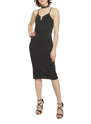 Textured Bodycon Dress with Spaghetti Straps,BLACK,large