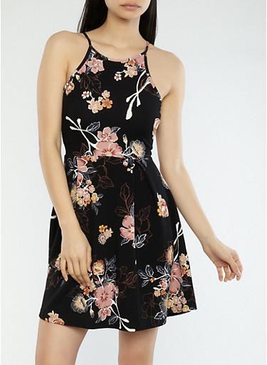 Floral Print Skater Dress,BLACK,large