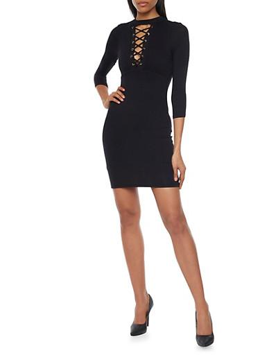 Mock Neck Lace Up Mini Dress,BLACK,large