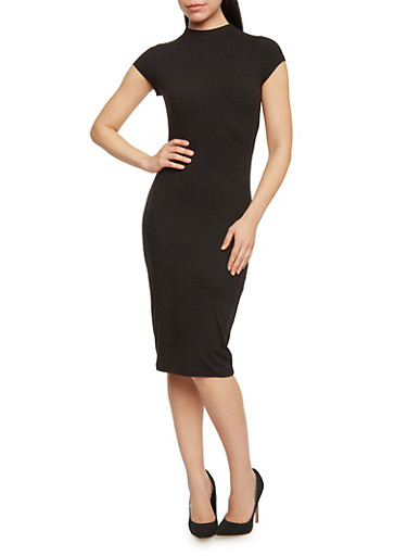 Mid Length Mock Neck Bodycon Dress,BLACK,large