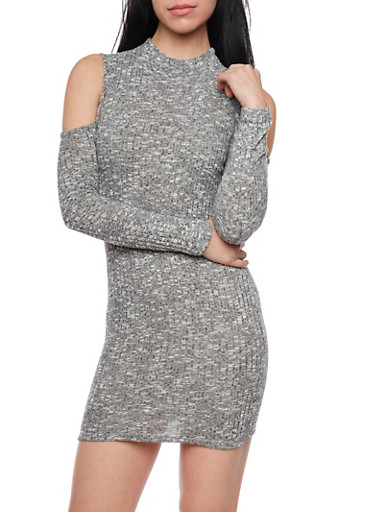 Cold Shoulder Mini Dress in Ribbed Knit,GRAY,large