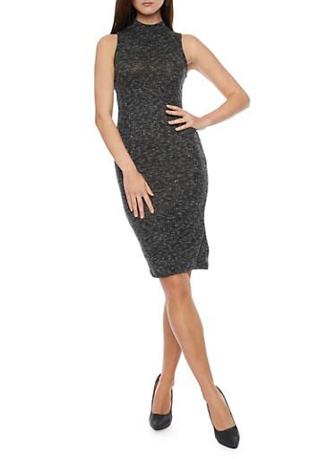 Mock Neck Sleeveless Ribbed Knit Dress,BLACK,large