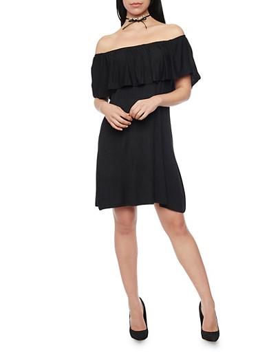 Ruffle Overlay Jersey Shift  Dress,BLACK,large
