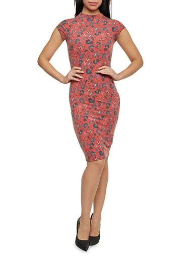 Printed Midi Dress with Cutout,ROSE,large