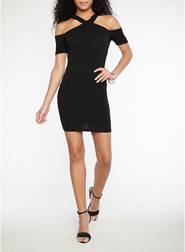 Textured Knit Criss Cross Front Dress,BLACK,large