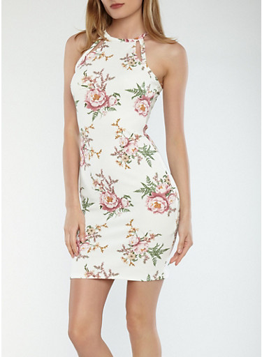 Textured Knit Floral Dress,IVORY,large