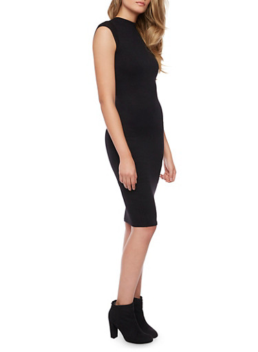 Bodycon Midi Dress with Back Cutout,BLACK,large