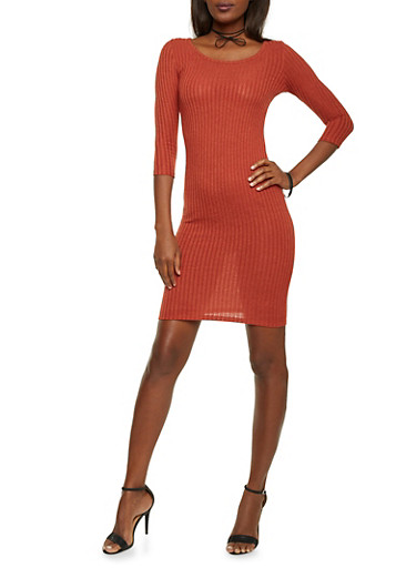 Short Ribbed Bodycon Dress,RUST,large