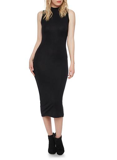 Sleeveless Bodycon Midi Dress with Mock Neck,BLACK,large