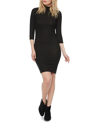 Rib Knit Midi Dress with Mock Neck,BLACK,large