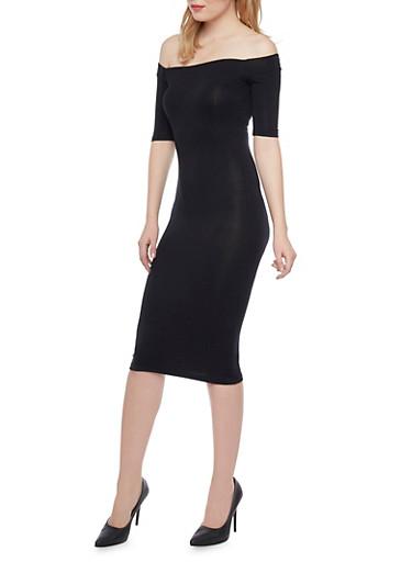 Mid Length Off the Shoulder Dress with Short Sleeves,BLACK,large
