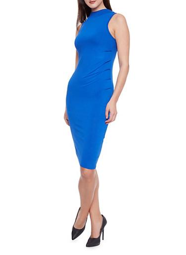 Sleeveless Mock Neck Bodycon Dress,RYL BLUE,large