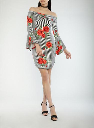 Rose Striped Off the Shoulder Dress,BLACK/RED,large