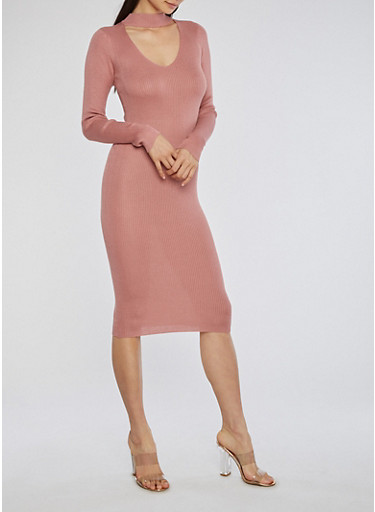 Mid Length Rib Knit Sweater Dress,MAUVE,large
