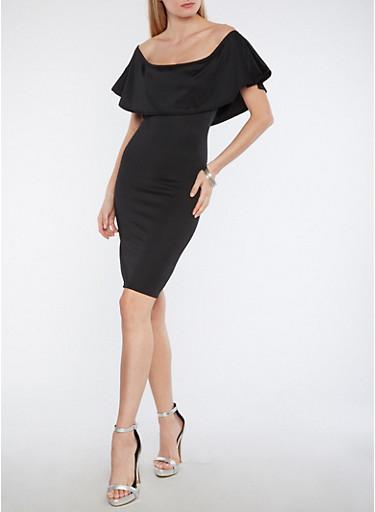 Solid Off the Shoulder Overlay Dress,BLACK,large