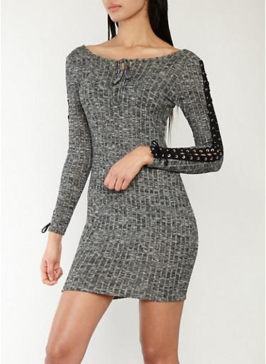 Soft Rib Knit Lace Up Sleeve Bodycon Dress,BLACK,large