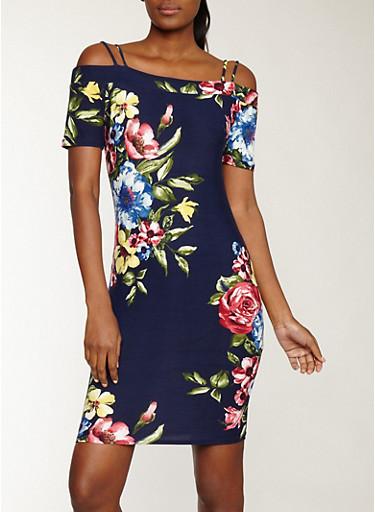 Soft Knit Floral Off the Shoulder Dress,NAVY-FUSCHIA,large