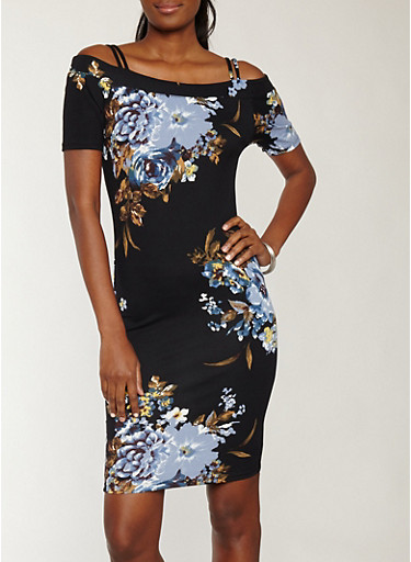 Soft Knit Black Floral Off the Shoulder Dress,BLACK/MUSTARD,large