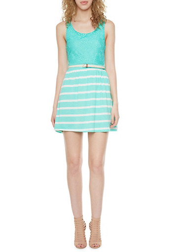 Belted Lace Dress with Striped Knit Skirt,MINT,large
