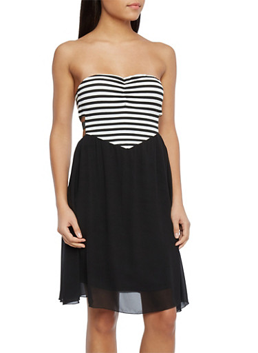 Striped Strapless Dress with Cutout Sides,BLACK/WHITE,large