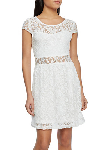 Lace Dress with Sweetheart Illusion Neckline,IVORY,large