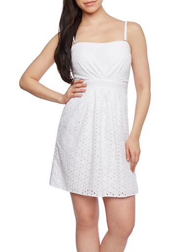 Solid Eyelet Slip Dress with Waist Tie,WHITE,large