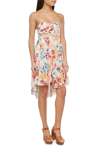 Floral Strapless Dress with High Low Hem,GREEN,large