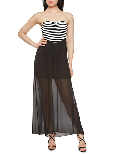 Striped Sweetheart Maxi Dress with Short Lining and Cutout Sides,BLACK/WHITE,large