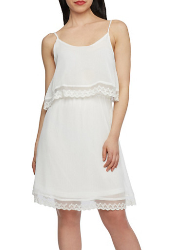 Popover Dress with Scallop Lace Hemlines and Spaghetti Straps,IVORY,large