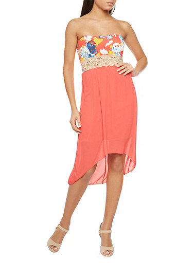 Strapless Floral Dress with Chiffon High-Low Skirt,CORAL,large