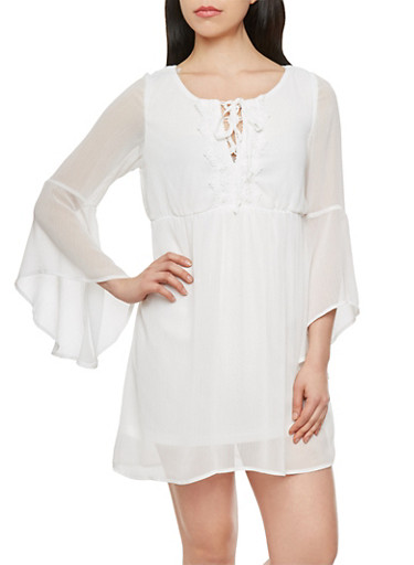 Peasant Dress with Lace Up Neckline,IVORY,large