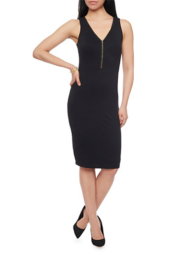 Sleeveless Zip Front V Neck Dress,BLACK,large