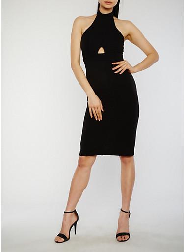 Sleeveless Halter Neck Bandage Dress with Keyhole Details,BLACK,large