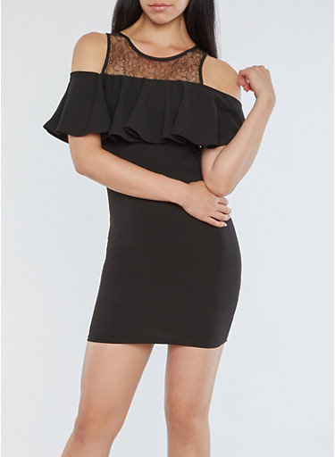Ruffled Lace Yoke Cold Shoulder Dress,BLACK,large