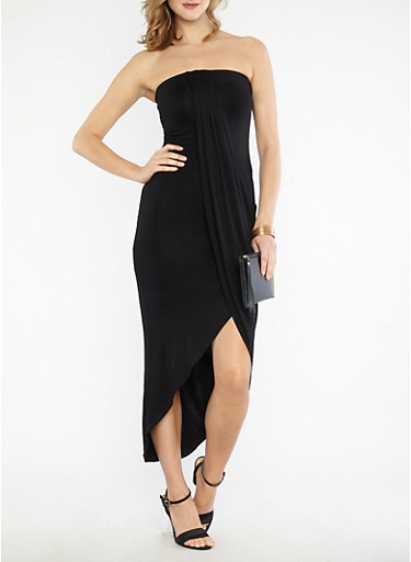 Solid Tube Dress with Asymmetrical Overlay,BLACK,large
