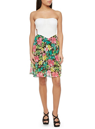 Strapless Dress with Floral Skirt,PINK,large