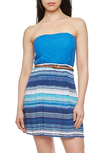 Crochet and Aztec Print Tube Dress with Cutout Bow Back,RYL BLUE,large