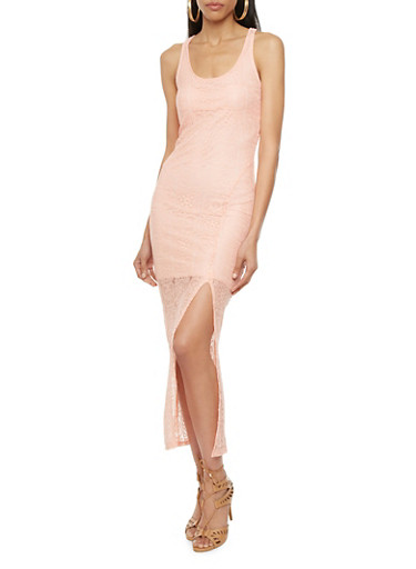 Racerback Maxi Dress with Lace Overlay and Side Slit,PEACH,large