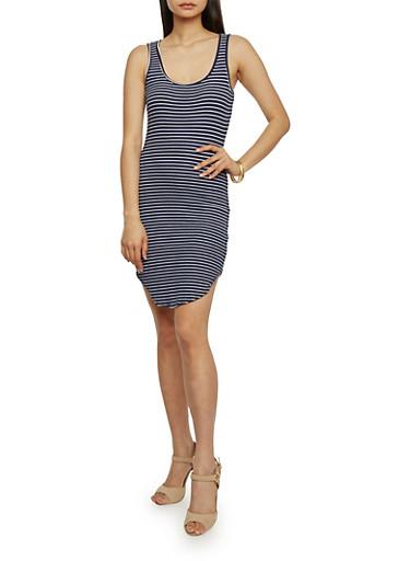 Sleeveless Striped Round Hem Dress,ECLIPSE/WHITE,large
