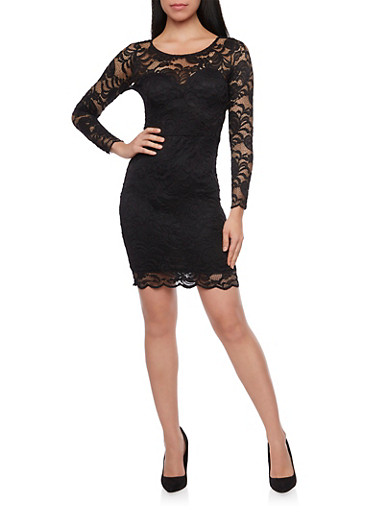 Lace Bodycon Mini Dress with Long Sleeves,BLACK,large