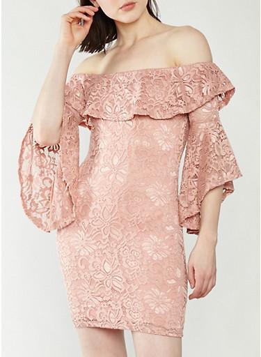 Off the Shoulder Lace Dress,MAUVE,large