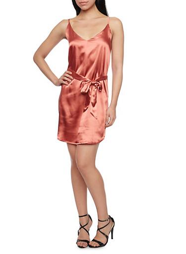 Satin Slip Dress with Belt,MAUVE,large