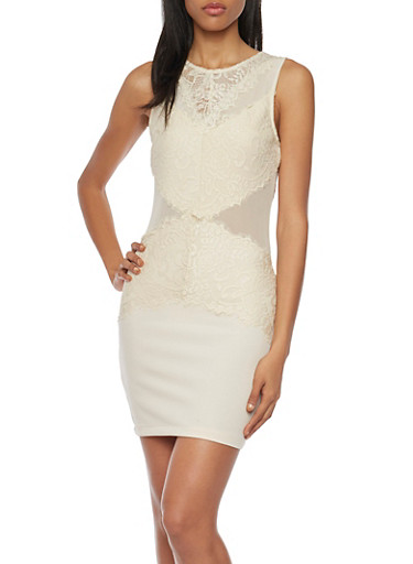Mini Bodycon Dress with Lace and Mesh Paneling,BONE,large