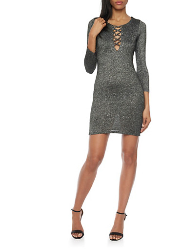 Lace Up Dress in Metallic Knit,BLACK/SILVER,large