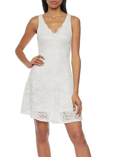 Sleeveless Lace Skater Dress with V Neck,IVORY,large