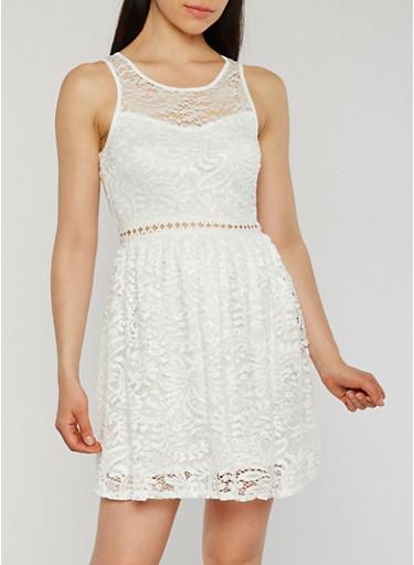 Sleeveless Lace Skater Dress,OFF-WHITE,large