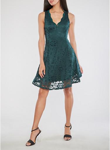 Lace Skater Dress,HUNTER,large
